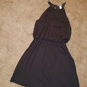 H&M black satin dress
